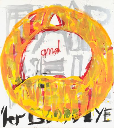 ter Hell · <strong>Ter im gelben Kreis</strong> [Ter in the yellow circle] · 2008 · 200 x 180 cm · acrylic, spray on canvas
