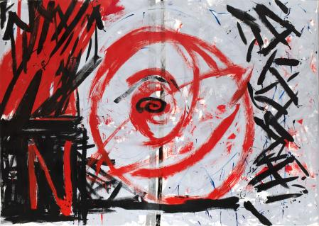ter Hell · <strong>Electric power from the red ball</strong> · 2013 · 235 x 330 cm · acrylic, oil on canvas