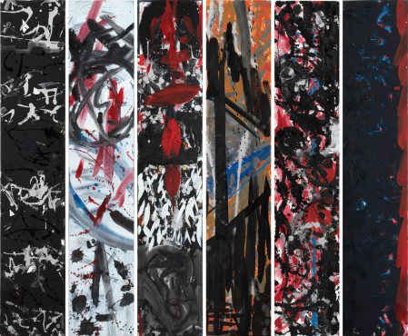 ter Hell · <strong>Steles</strong> · 2013 · 6-part · each 180 x 35 cm · acrylic, spray on canvas