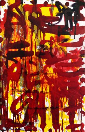 ter Hell · <strong>Art ist eine große...</strong> [Art is a big...] · 2015 · 70 x 45 cm · acrylic on canvas
