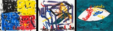 ter Hell · <strong>Hommage à Paul Gaugin</strong> · 2008 · triptych · each 180 x 210 cm · acrylic, spray on canvas