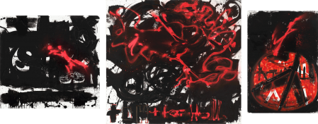 ter Hell · <strong>Germany + U</strong> · 2009 · triptych · 145 x 160 / 200 x 230 / 160 x 110 cm · acrylic, spray on canvas + collage