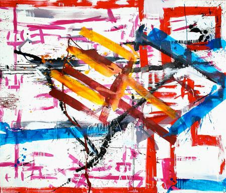 ter Hell · <strong>Mistforkenboogie</strong> [Pitchfork boogie] · 2014 · 180 x 200 cm · acrylic on canvas